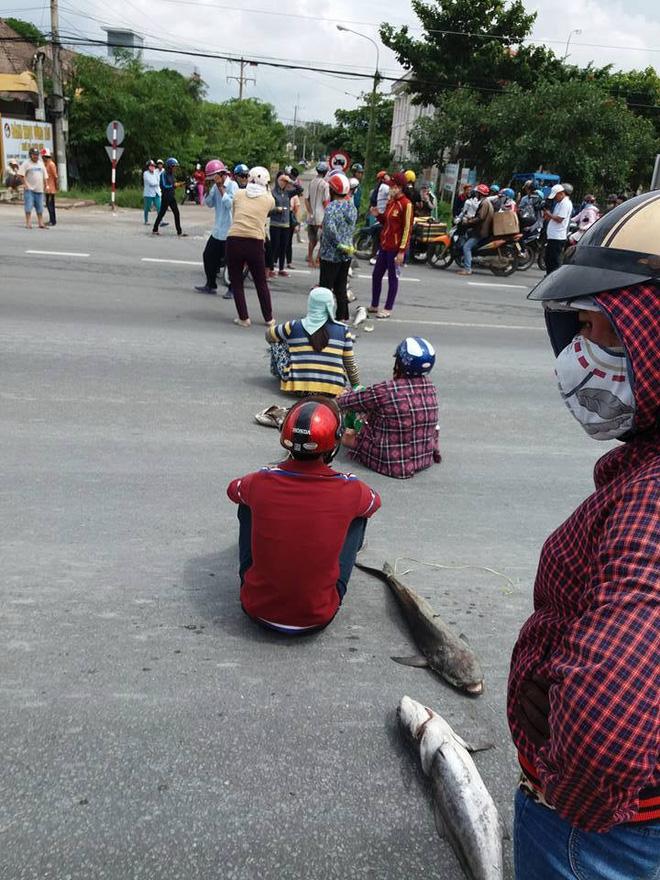 Người dân chặn quốc lộ để biểu thị sự bức xúc khi liên tiếp phải gánh chịu thiệt hại do xả thải trái phép gây ra. (Ảnh: soha.vn)
