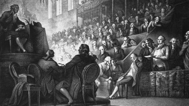 Thuật ngữ cánh tả (bên trái) chỉ những người ngồi bên trái chủ toạ và cánh hữu (bên phải) chỉ những người ngồi bên phải chủ toạ trong Quốc hội Pháp trong cách mạng 1789
