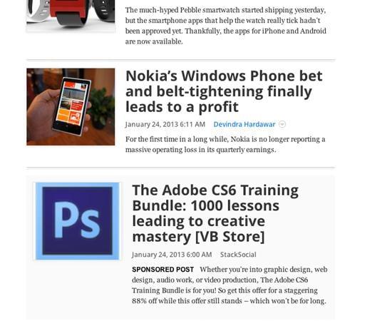 """Trang VentureBeat cung cấp quảng cáo xen kẽ giữa các bài viết và được đánh dấu bằng """"Sponsored Post"""""""
