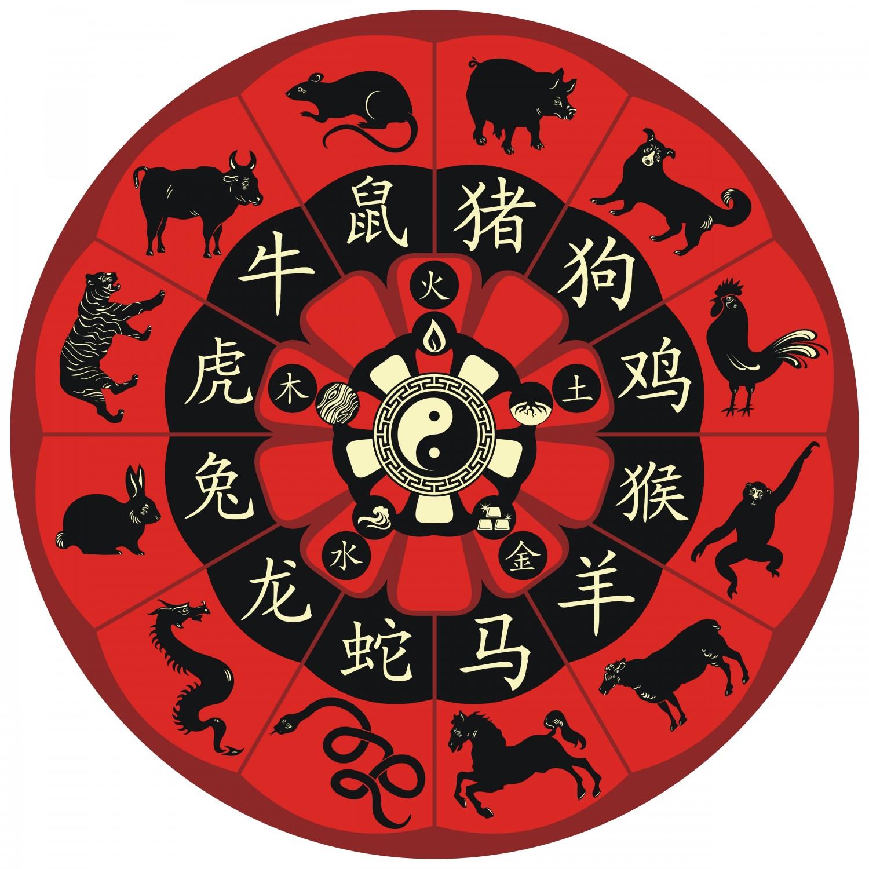 Các vòng tròn hoàng đạo Trung Quốc, bao gồm cả biểu tượng của ngủ hãnh (Yurumi / Shutterstock)