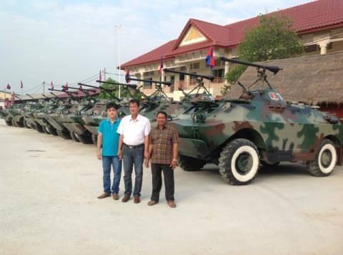 Dàn xe bọc thép do anh Hải khôi phục, cải tiến cho chính phủ Hoàng gia Cambodia