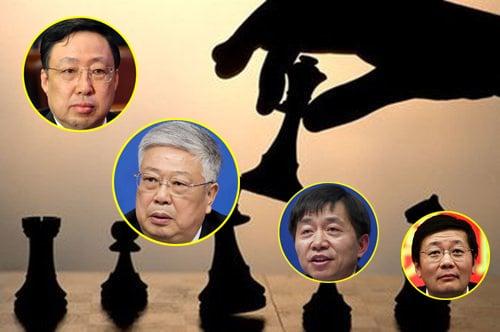 (Từ trái qua) Trung Quốc cách chức 4 Bộ trưởng: Bộ trưởng Quốc an Cảnh Huệ Xương, Bộ trưởng Bộ Dân chính Lý Lập Quốc, Bộ trưởng Bộ Giám sát Hoàng Thụ Hiền, Bộ trưởng Bộ Tài chính Lâu Kế Vĩ.