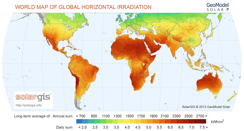 Bản đồ hiệu suất bức xạ năng lượng mặt trời trên thế giới (Ảnh: SolarGIS)