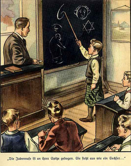 """Tranh tuyên truyền """"Mũi của người Do Thái cong vẹo, nhìn như số 6"""""""