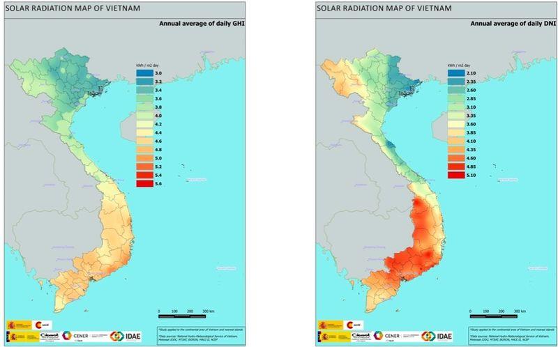 Bản đồ bức xạ năng lượng mặt trời ở Việt Nam (Ảnh: energypedia.info)