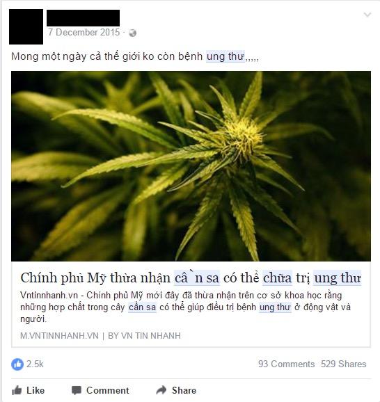 Một trong những tin thất thiệt chưa được kiểm chứng được lan truyền mạnh mẽ trên Facebook thời điểm cuối năm 2015. (Ảnh chụp từ Facebook)