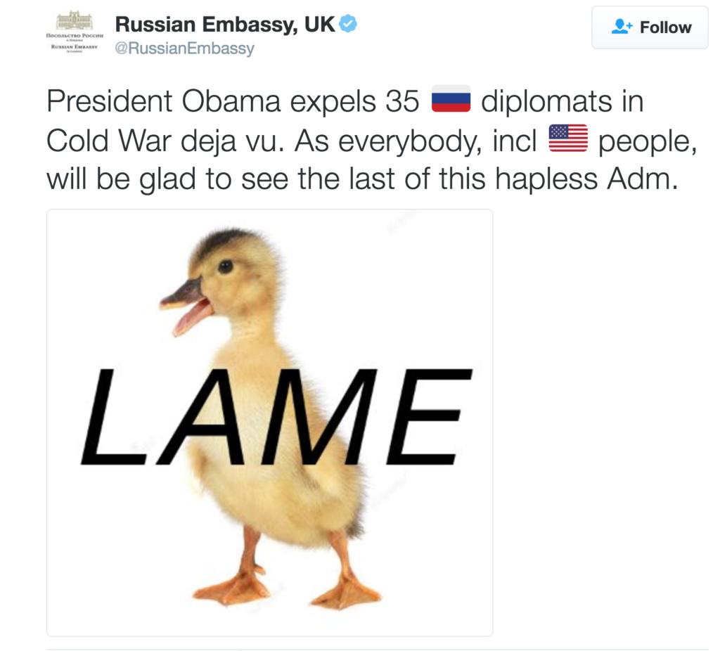 Đại sứ quán Nga tại Anh đăng hình ảnh mỉa mai ông Obama là con vịt què sau tuyên bố trục xuất các nhà ngoại giao Nga