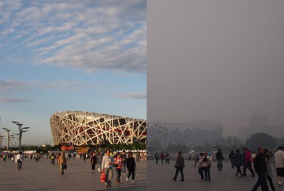 Hình ảnh so sánh cho thấy tình trạng sương mù ô nhiễm tại Bắc Kinh.