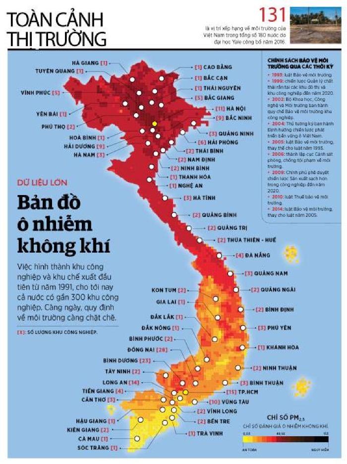 Bản đồ ô nhiễm không khí tại Việt Nam. (Nguồn: Đại học Yale/dẫn qua Tạp chí Forbes Việt Nam)