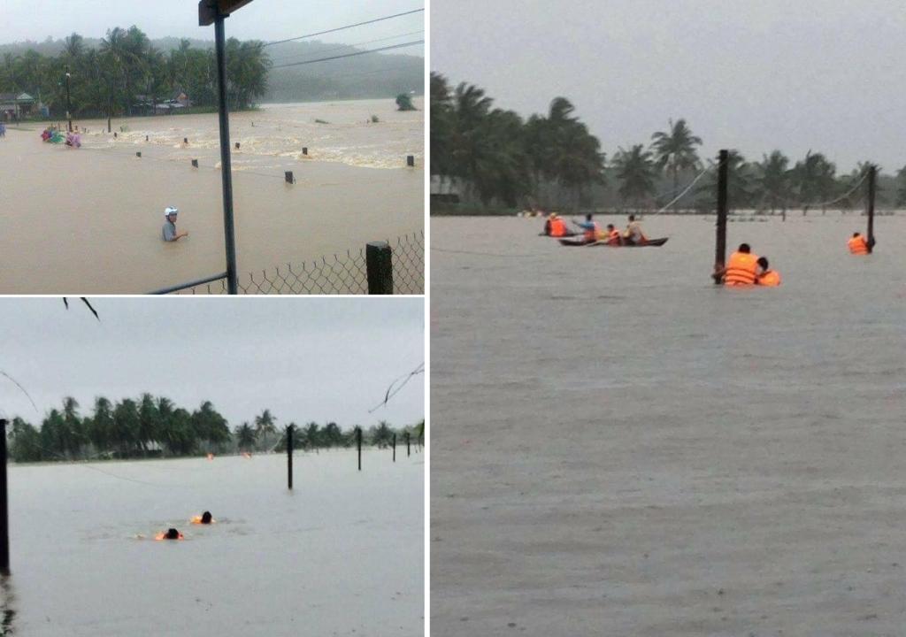 Trong đợt mưa lớn, xả lũ liên tiếp, Bình Định đã có 16 người chết, tất cả 11 huyện, thị xã với 100 xã, phường bị ngập lụt, trong đó khoảng 50 xã, phường bị ngập sâu, 26 xã bị cô lập. Hình ảnh ngày 16/12/2016, tại Bình Định. (Ảnh: Fanpage Bình Định Quê Tôi)