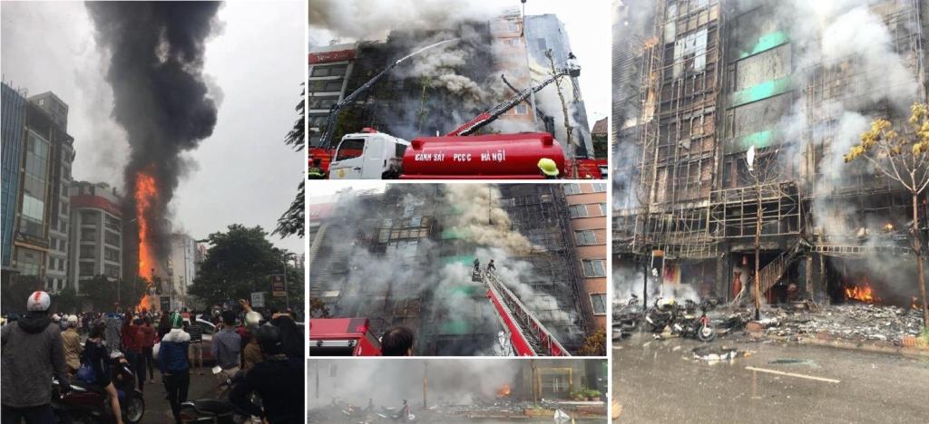 Hiện trường vụ cháy đặc biệt nghiêm trọng khiến 13 người tử vong, nhiều ngôi nhà bị thiêu rụi tại số 68 Trần Thái Tông (Hà Nội). (Ảnh tổng hợp/FB)
