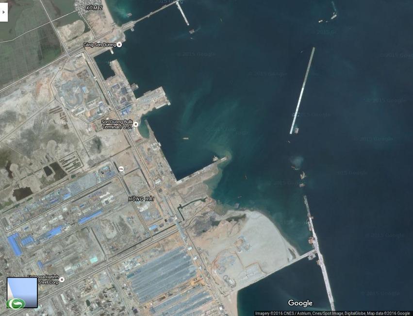 Một góc dự án Formosa Hà Tĩnh - thủ phạm xả nước thải làm ô nhiễm nghiêm trọng môi trường biển. (Ảnh chụp từ Google Maps)
