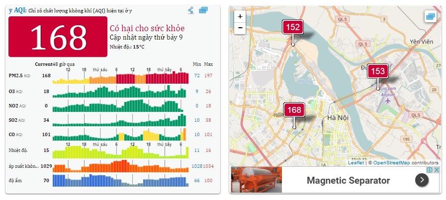 Mức độ ô nhiễm không khí do bụi mịn PM2,5 ở Hà Nội 8 sáng ngày 17/12/2016 tại 3 điểm đo ở Hà Nội đều cao hơn 150 (ảnh: aqicn.org)