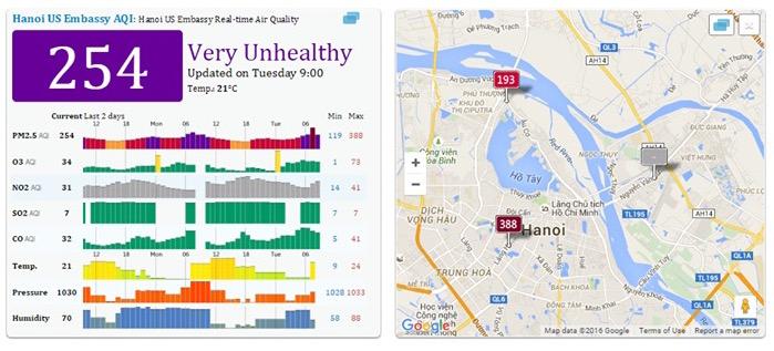 Mức độ ô nhiễm không khí do bụi mịn PM2,5 ở Hà Nội 8 sáng ngày 1/3/2016 tại ở Láng Hạ, Hà Nội (ảnh: aqicn.org)