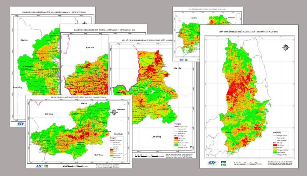 Bản đồ thiên tai hạn hán tại 05 tỉnh Tây Nguyên và các tỉnh Duyên hải Nam Trung bộ (Ninh Thuận, Bình Thuận và Khánh Hòa) năm 2016. (Nguồn: dmc.gov.vn)