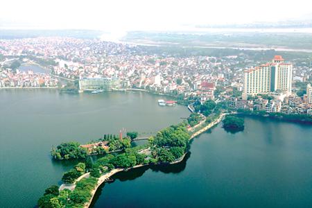 Hồ Tây nhìn từ trên cao. (Ảnh dẫn qua hanoitv.vn)