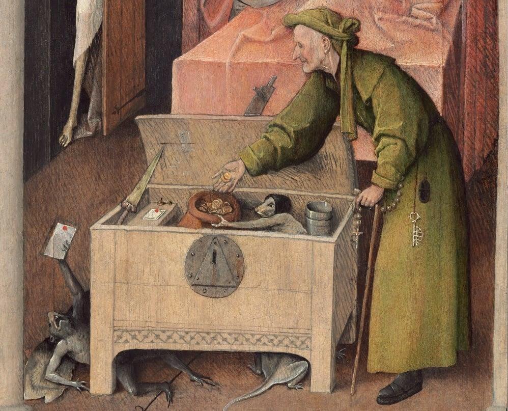"""Tìm hiểu nghệ thuật Phục Hưng: Ngụ ngôn đạo đức trong bức """"Thần chết và kẻ bủn xỉn"""""""
