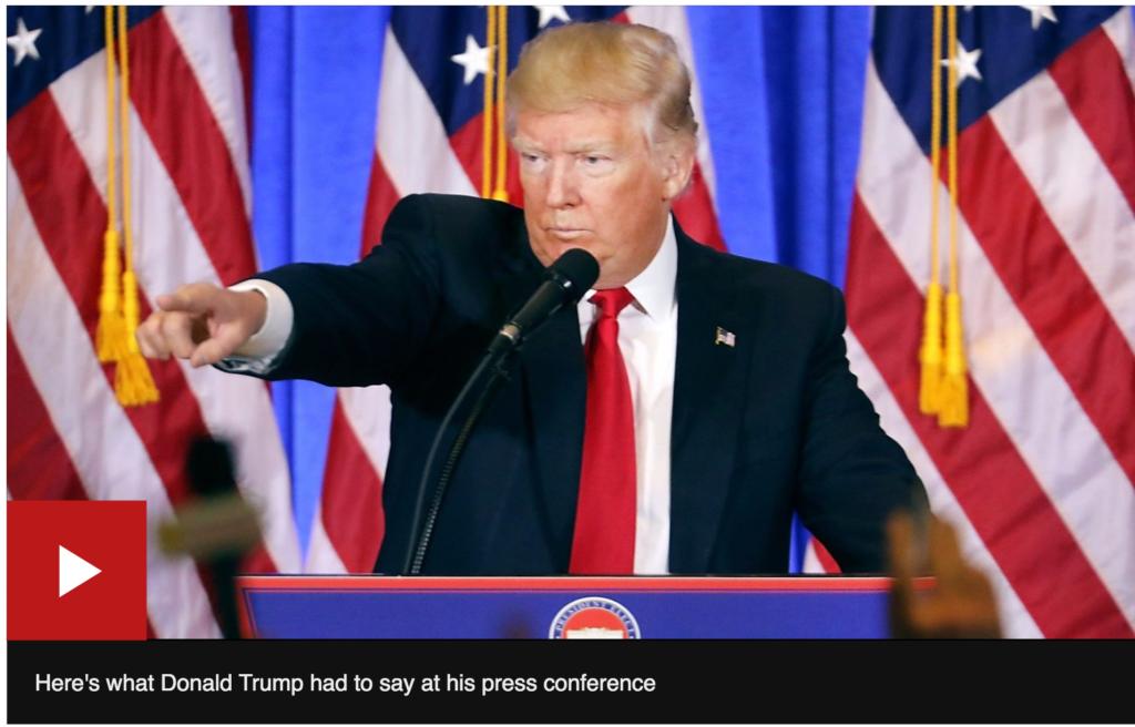 Tổng thống tân cử Donald Trump chỉ tay vào một phóng viên trong buổi họp báo đầu tiên được nhiều người trông đợi sau khi thắng cử (Ảnh chụp màn hình)