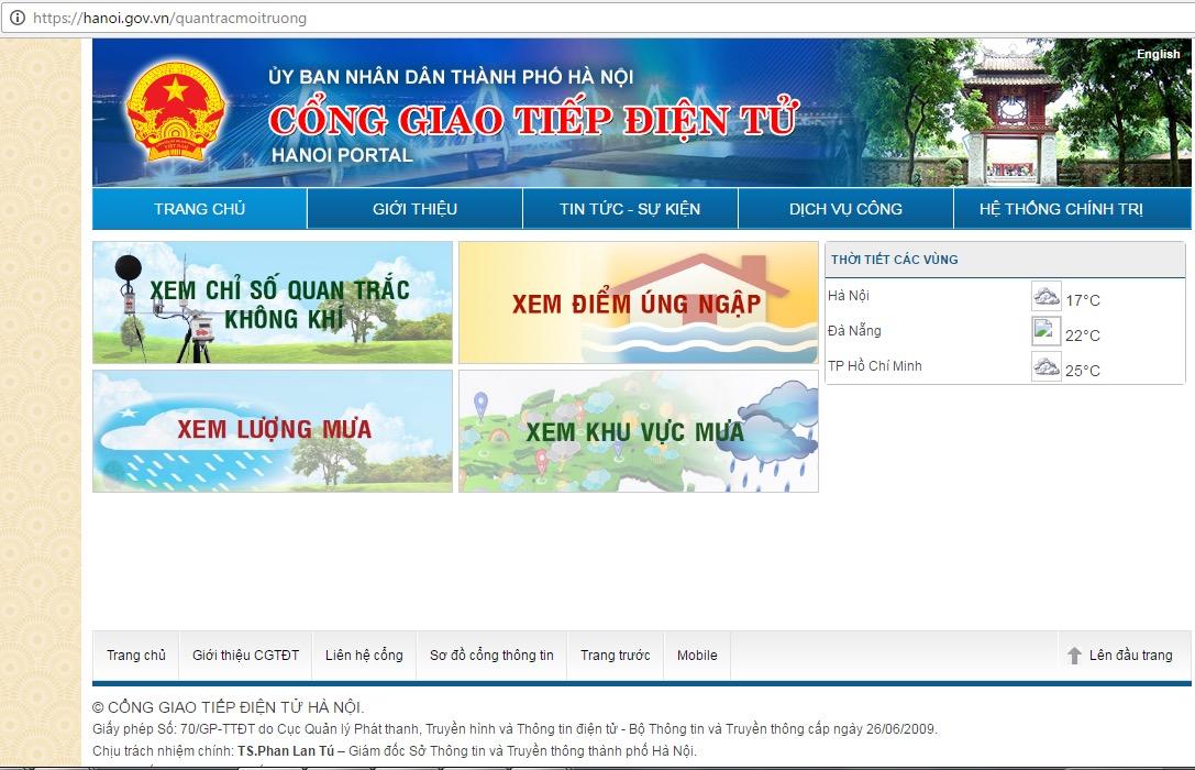 Trang quan trắc môi trường tại cổng giao tiếp điện tử Hà Nội