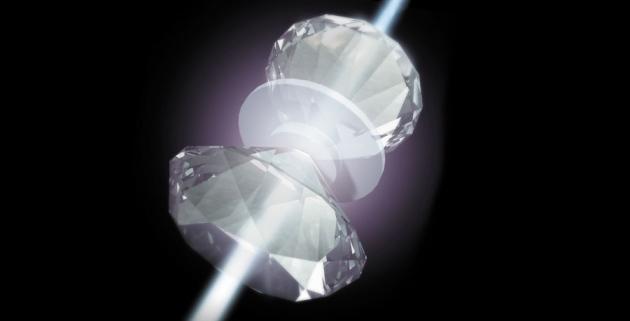 Hydro kẹp giữa 2 đầu kim cương có thể được thăm dò tính chất bằng laser (ảnh: Ben Smith)