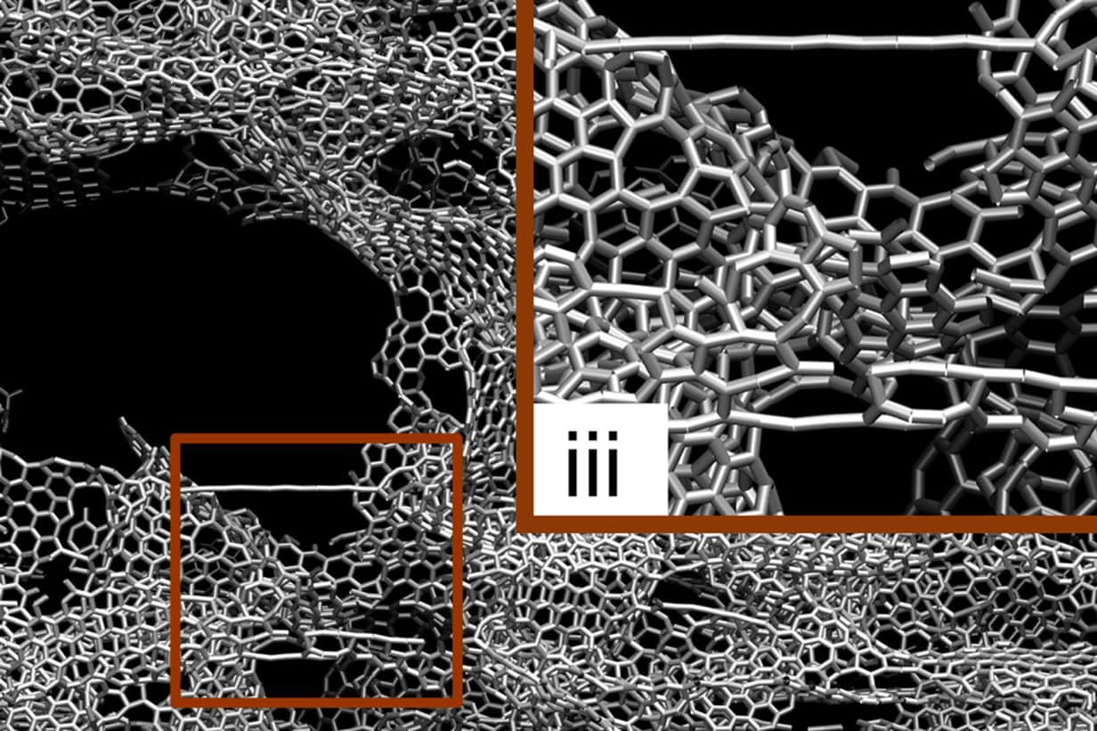 Kết quả mô phỏng các thử nghiệm kéo và nén trên graphene 3D (ảnh: Melanie Gonick / MIT)