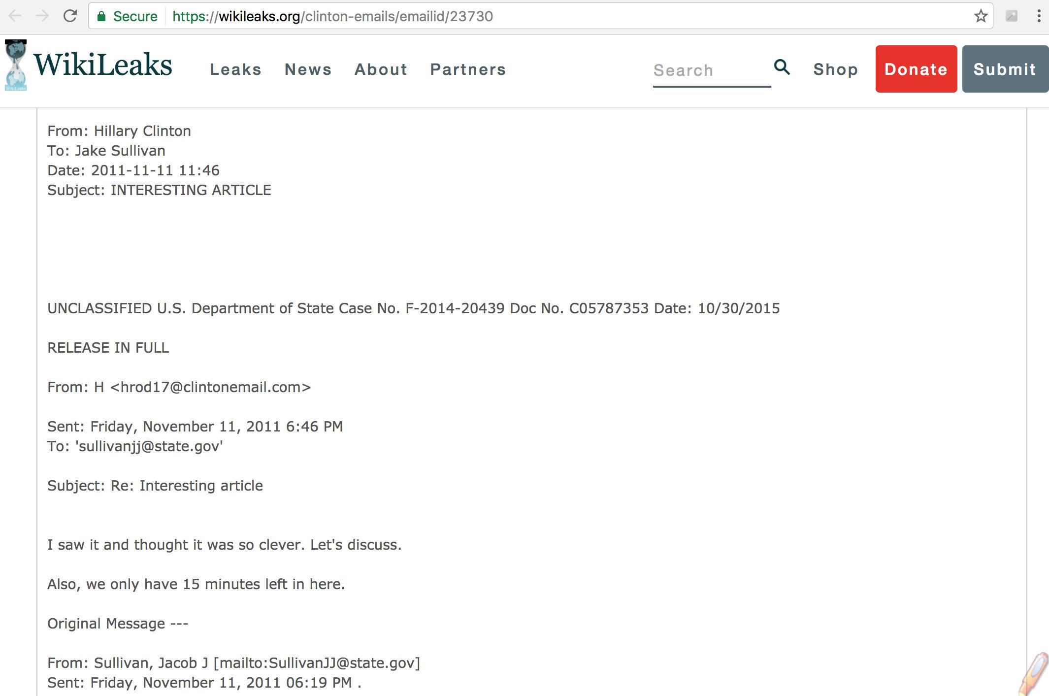 Ảnh chụp màn hình từ trang Wikileaks