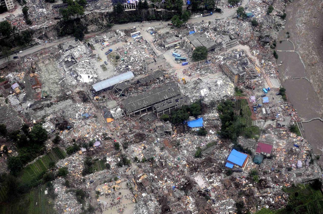 Cảnh hoang tàn sau trận động đất Tứ Xuyên năm 2008.