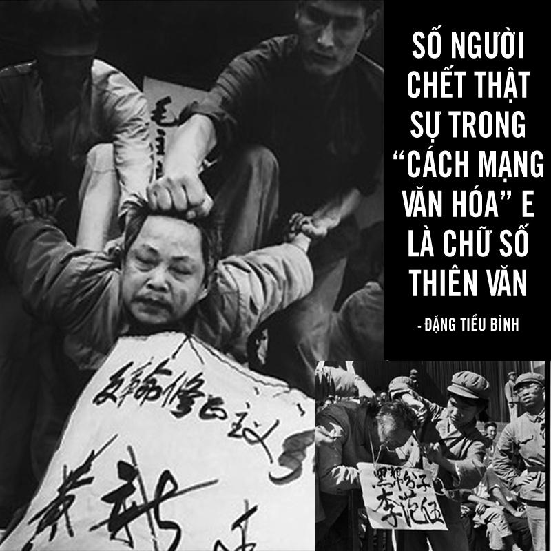 """Cựu lãnh đạo đảng Cộng sản Trung Quốc Đặng Tiểu Bình từng trả lời phỏng vấn: """"Số người chết thật sự trong Cách mạng Văn hóa e rằng là con số thiên văn, mãi mãi không thể tính ra được""""."""