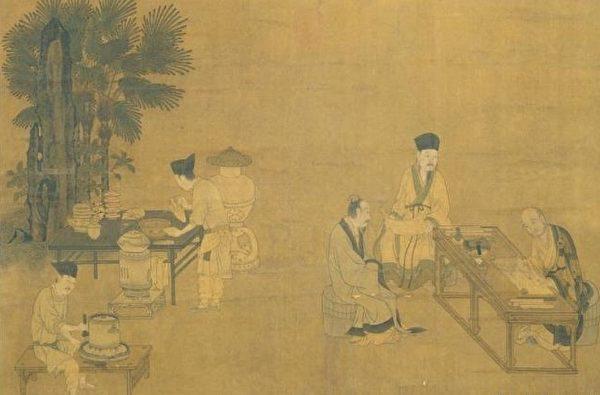 Tranh miêu tả một điểm thưởng thức trà vào thời Tống (Ảnh minh họa: Epochtimes)
