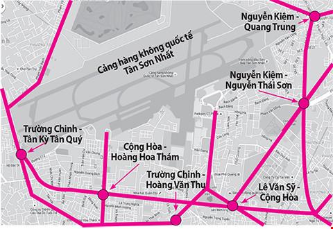 Các điểm thường xuyên ùn ứ quanh sân bay Tân Sơn Nhất. (Đồ họa: LH/plo.vn)