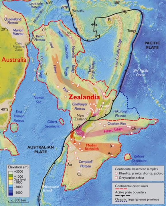 Bản đồ độ cao của Australia và vùng Zealandia (ảnh: . N. Mortimer et al./GSA Today)