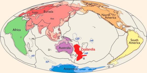 Vị trí của Zealandia (ảnh: N. Mortimer et al./GSA Today)