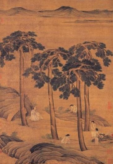Cảnh người xưa ngồi dưới gốc cây tùng, rời xa chốn đông đúc huyên náo để thưởng thức trà.