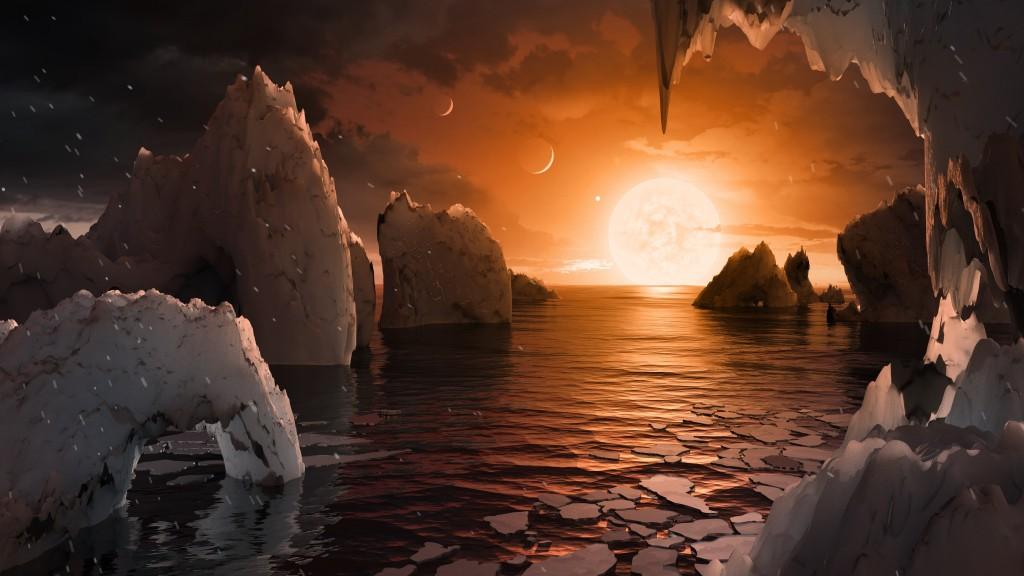 Bề mặt của 1 hành tinh trong hệ mặt trời TRAPPIST-1, theo phác thảo tượng trưng của họa sĩ (ảnh: NASA/JPL-Caltech)