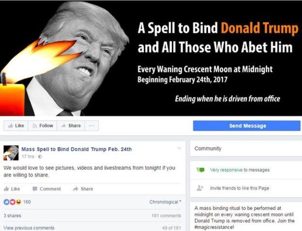 Facebook của hội phù thủy yểm bùa Tổng thống Trump
