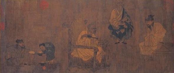 Tranh miêu tả về cảnh chế trà và thưởng thức trà (Ảnh minh họa: Epochtimes)