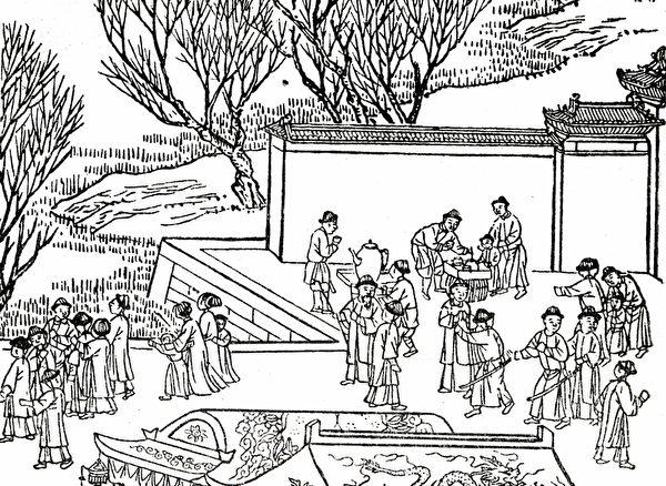 Tranh minh họa cổ nhân uống trà trên đường (Ảnh: Epochtimes)