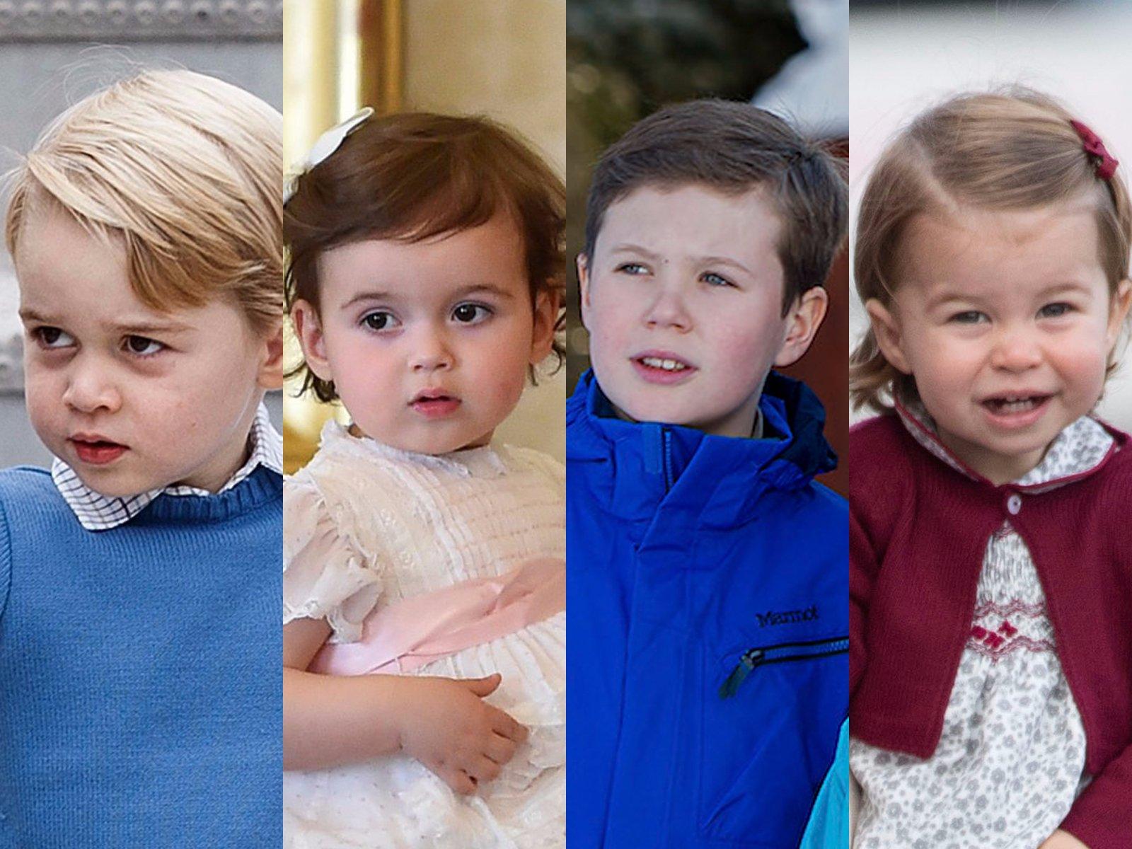 Từ trái sang: Hoàng tử George, Công chúa Amalia, Hoàng tử Christian, và Công chúa Charlotte. (Ảnh: Getty/Chris Jackson, Harold Cunningham; AP/Gabriel Buoys)