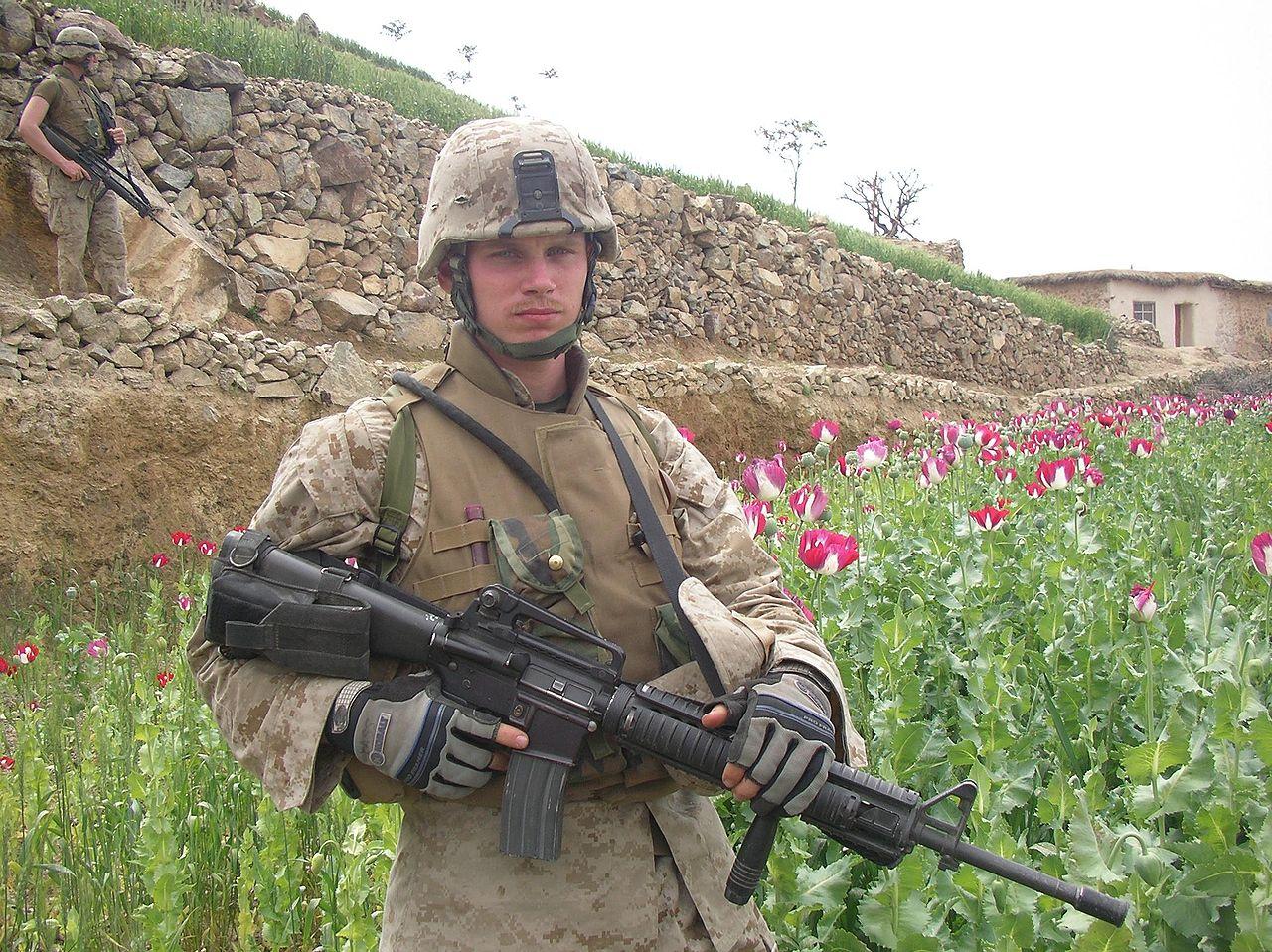 Một thủy quân lục chiến Mỹ trên cánh đồng thuốc phiện tại Afghanistan. (Ảnh: Wikipedia)