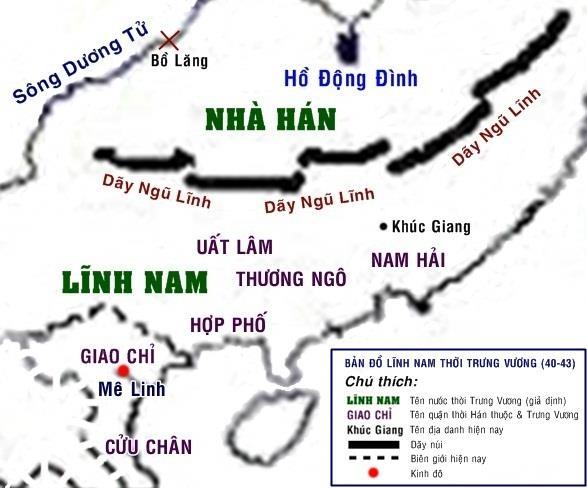 Bản đồ Lĩnh Nam thời Trưng Vương.