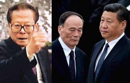 Từ trái qua phải: ông Giang Trạch Dân, ông Vương Kỳ Sơn và ông Tập Cận Bình.