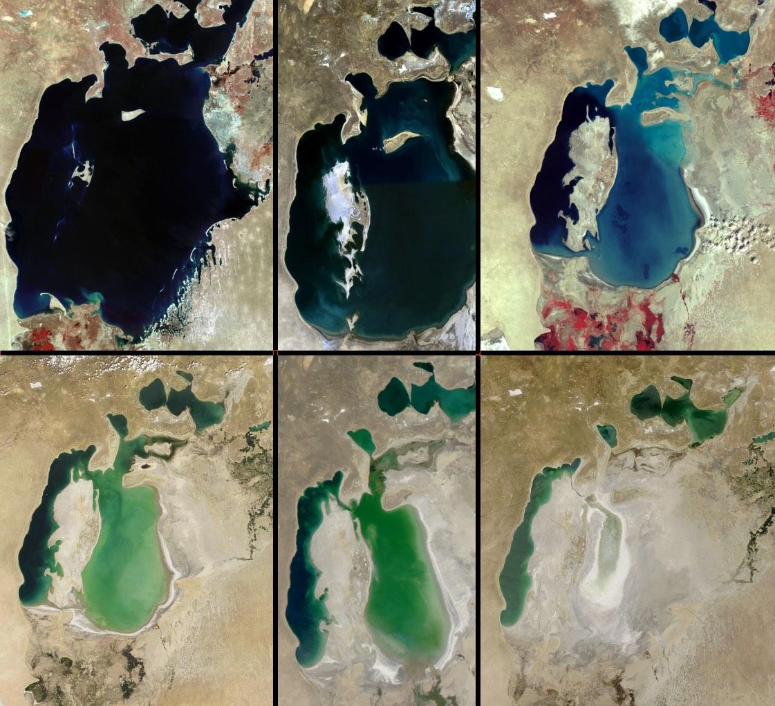 Đây từng là vùng hồ lớn thứ tư trên thế giới. Hình ảnh vệ tinh của Biển Aral từ năm 1964 đến năm 2014. (Ảnh: Chụp vệ tinh)