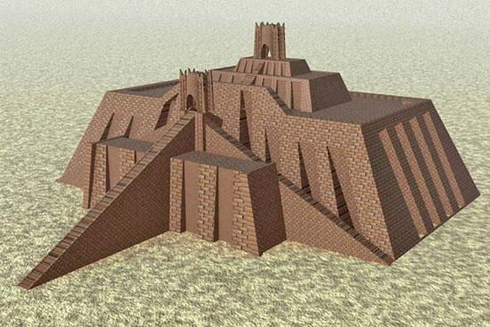 Hình ảnh tái hiện Ziggarut (bệ núi) 3D của thành Ur. (Ảnh: Wikipedia)