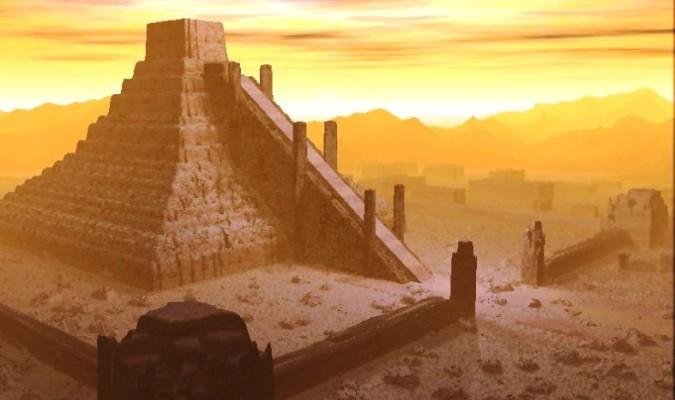 Ảnh tái hiện một tòa kim tự tháp của văn minh Sumer (ảnh qua elishean.fr)
