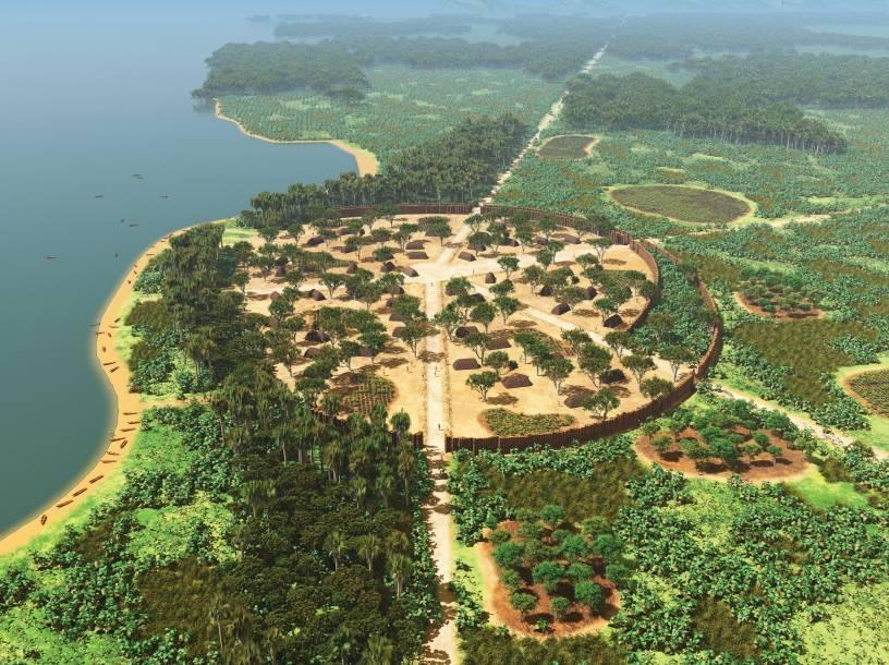 Ảnh mô phỏng Kuhikugu (hay X11) - di chỉ khảo cổ của 1 thành phố cổ đại thời tiền-Columbus trong rừng Amazon (ảnh quamochilabrasil)