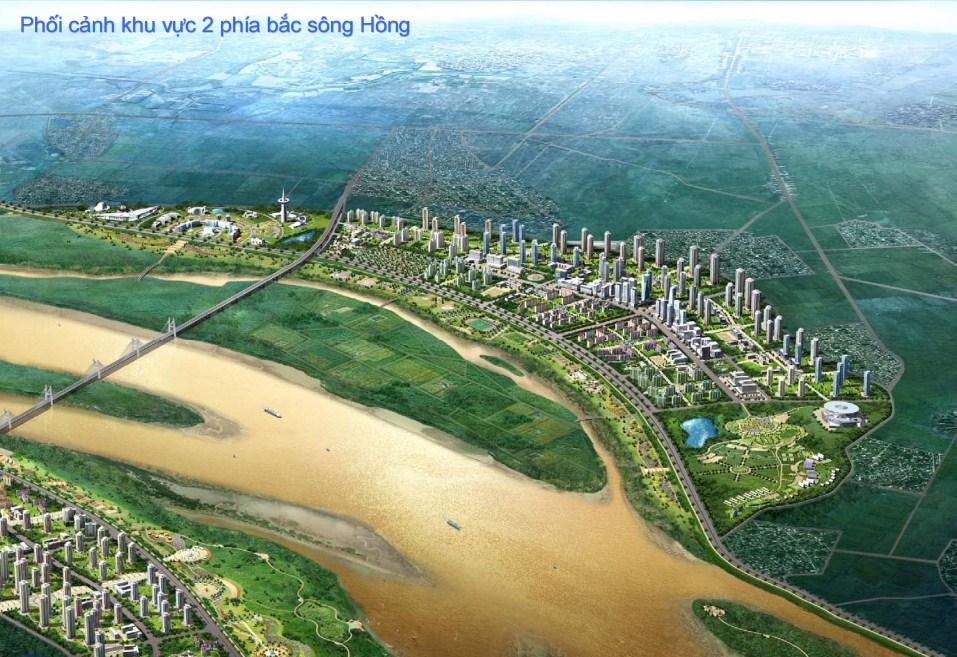 Phối cảnh khu vực 2 phía bắc sông Hồng - Dự án quy hoạch cơ bản phát triển sông Hồng - 2007 do Seoul-HN phối hợp thực hiện. (Nguồn: vncold.vn)