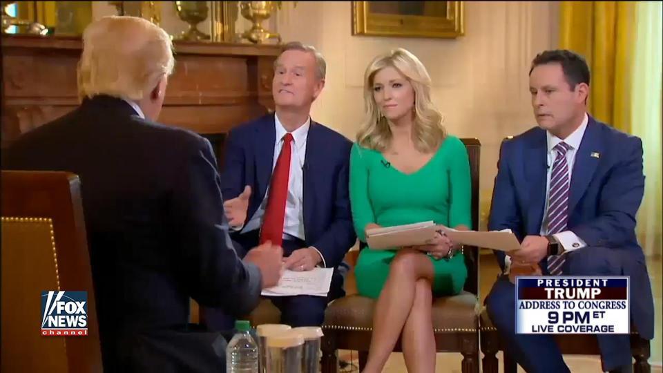 Tổng thống Mỹ Donald Trump trong cuộc phỏng vấn ngày 28/2 với Fox News (Ảnh chụp màn hình)