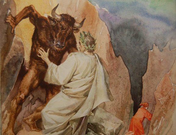 "Virgil giúp Dante thoát khỏi con quái thú Minotaur. (Ảnh qua slide ""La struttura dell'Inferno"")"