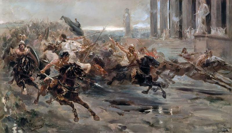 Cảnh Attila tấn công nước Ý. Ông ta cũng được xem là một tay bạo chúa, và được Dante nhắc tới tại tầng ngục này. (Ảnh qua Wikipedia)