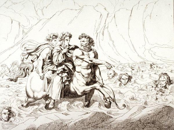 Nessus đưa Dante và Virgil vượt qua sông máu. (Ảnh qua art.famsf.org)